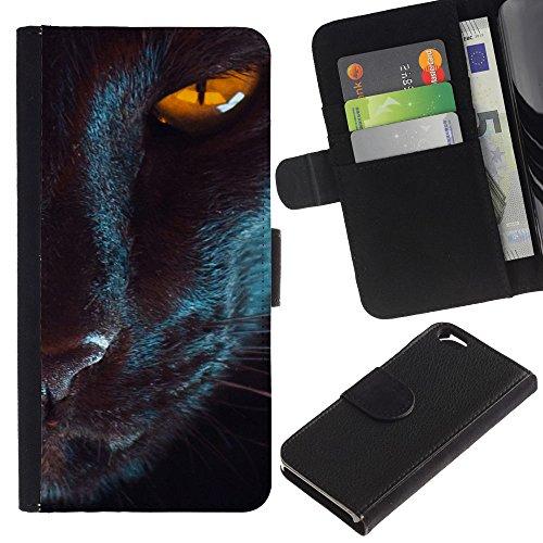 EuroCase - Apple Iphone 6 4.7 - oriental cat eye mystical black yellow - Cuir PU Coverture Shell Armure Coque Coq Cas Etui Housse Case Cover
