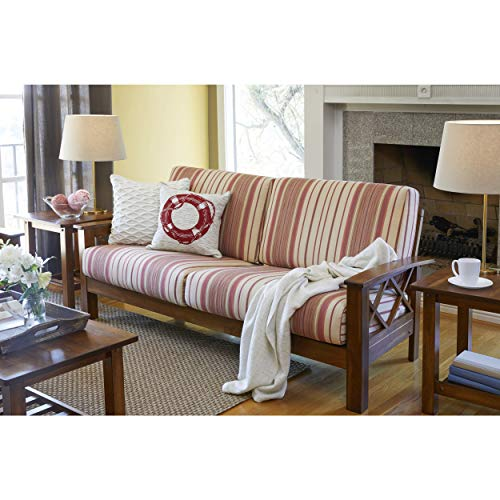 Handy Living Virginia Red Stripe X Design Sofa with Exposed Wood Frame ()