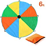 Magicfly Parachute, 6 Feet for Kids Parachute with 8 Handles for Kids Play, Kids Games, Outdoor Games, Outdoor Toys