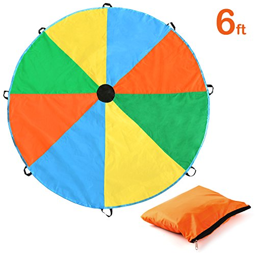 Magicfly Kids Parachute 6 Feet Parachute Toys with 8 Handles Rainbow Parachute for PE Class and Outdoor