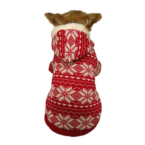 (Anima Red Snowflake Hoodie for Pets, X-Small)