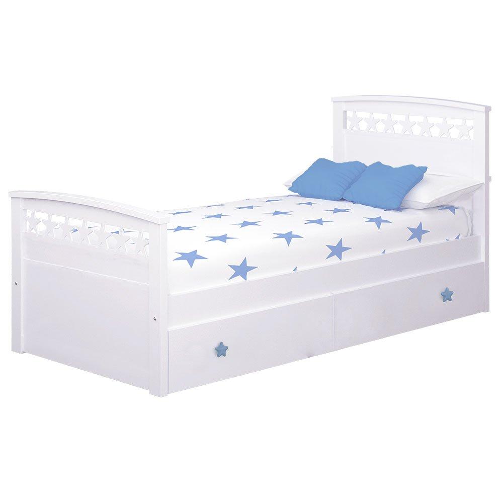 bainba Cama Infantil Estrellas con Nido (Colchón 90 x 200, Azul)