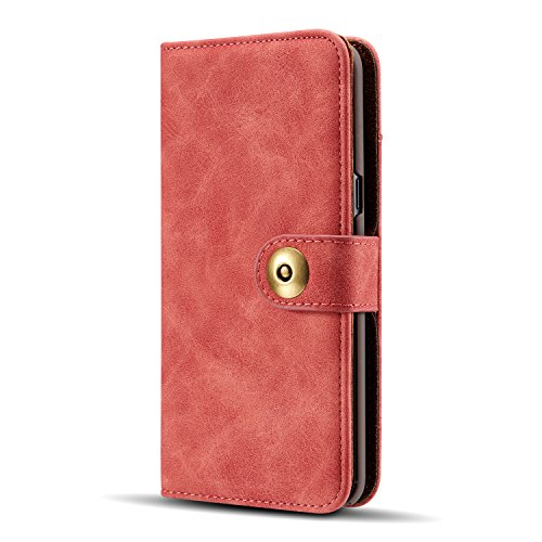 Gloriphy 2 in 1 Premium Suede Leather Wallet and Magnetic Detachable Slim Case Folio Cover with Card Slots for Samsung Galaxy S10 Plus- Red (Folio Suede Case)
