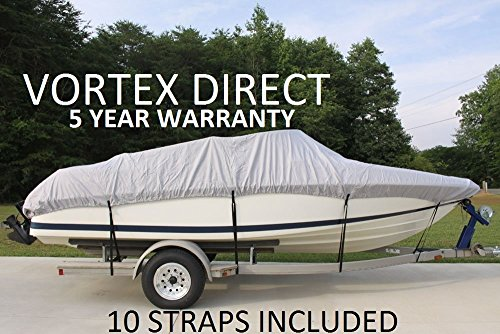 VORTEX HEAVY DUTY 24 FTGREY/GRAY VHULL FISH SKI RUNABOUT COVER FOR 22' to 23' to 24' FT FOOT BOAT (FAST SHIPPING - 1 TO 4 BUSINESS DAY DELIVERY)