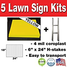 Box of 5 Quantity Blank Yellow Yard Signs 18x24 with H-stakes for Garage Sale Signs, For Rent, Open House, Estate Sale, Now Hiring, or Political Lawn Signs