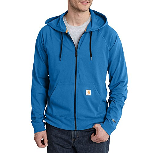 Carhartt Men's Force Cotton Delmont Zip Front Hoodie, Cool Blue, X-Large (Zip Rugged Sleeve)
