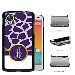 Dark and Light Purple Giraffe Animal Pattern and White Gray Vertical Stripes on Bottom with Purple and White Monogram Circle in Center Outlined in Gold Hard Plastic Snap On Cell Phone Case LG Nexus 5