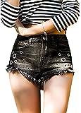 Romacci Sexy Summer Women Jean Shorts Denim Ripped Hole Washed High Waist Pockets Hot Pants Black