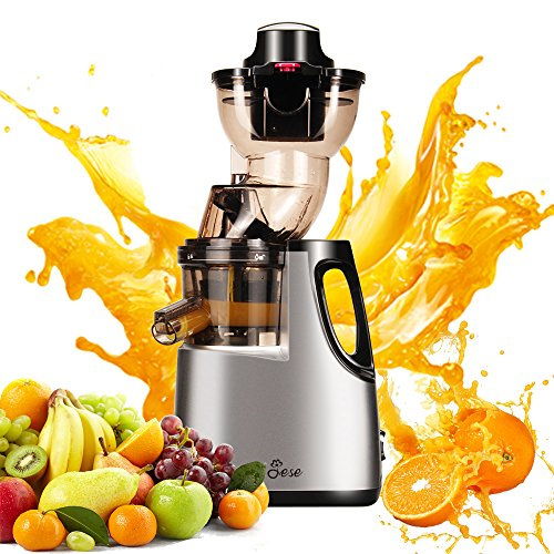 JESE Juicers Wide Chute Anti-Oxidation Extra Slow Masticating Juicer Extractor (250W, 37RPMs, 3.5