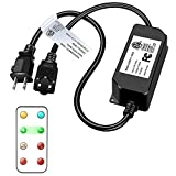 Outdoor Remote Control Dimmer for LED String Lights,180W Max Power, Wireless Remote Control Plug-in Dimmer, Outdoor Dimmer Dimming Controller for Edison Dimmable LED Bulbs, 100FT Range, ETL Listed