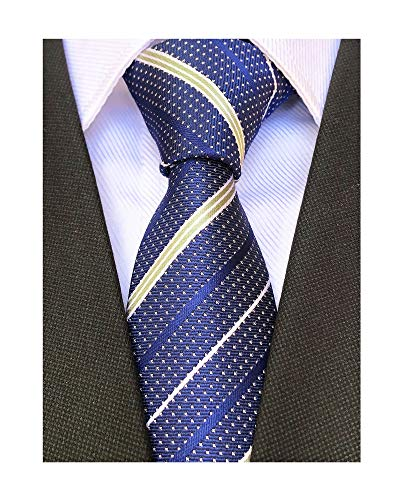 Men's Navy Blue Geometric Striped Tie Trendy Patterned Fashion Awesome Suit Storing Skinny Necktie ()