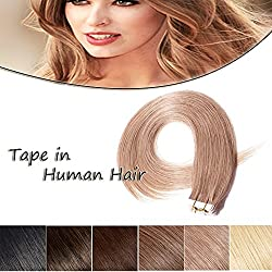 100% Remy Tape in Human Hair Extension 22'' Bonding Double Sided Tape Professional Long Thick Straight Seamless Skin Weft Hair 20Pcs/50g (Strawberry Blonde #27) + 10pcs Free Tapes