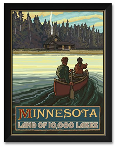 Northwest Art Mall Minnesota Lake Canoers Forest Cabin Framed Art Print by Paul A. Lanquist. Print Size 18 x 24 Framed Art Size 20 x 26