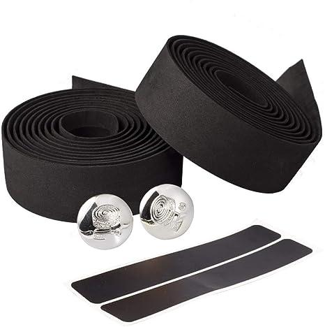 2Pcs Bike Bicycle Cycling Non-slip Handle Belt Tape Wrap With 2 Bar Plug Black