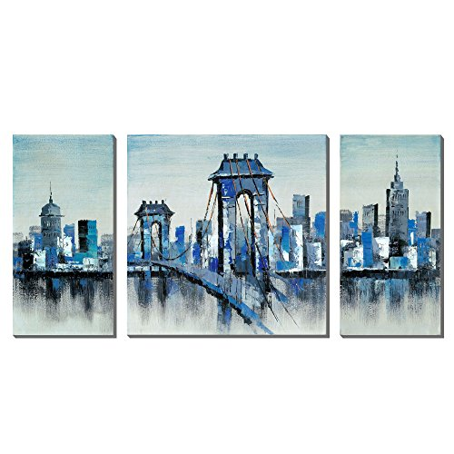 London Bridge Hand-Painted Oil Painting 3 panel Wall Art For Bedroom,Ready To - London Frames