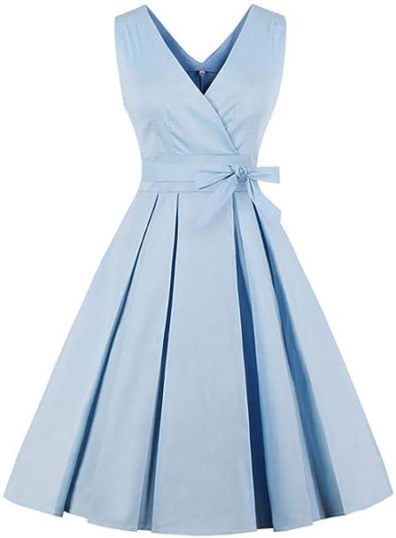 eb1e359c1b0 QiHong Vestido de Verano Elegante sin Mangas con Cuello en V