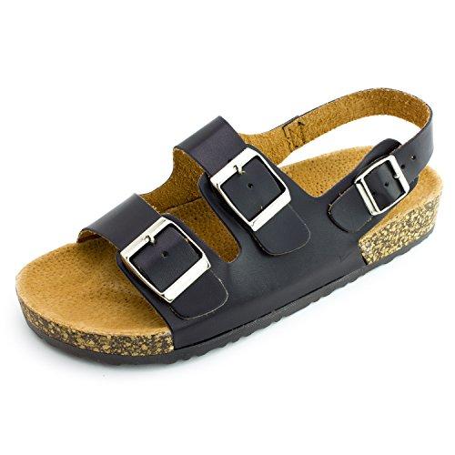 Kali Womens Open Toe Buckle Strap Sandals, Womens, Black 2, 10 M US Women ()