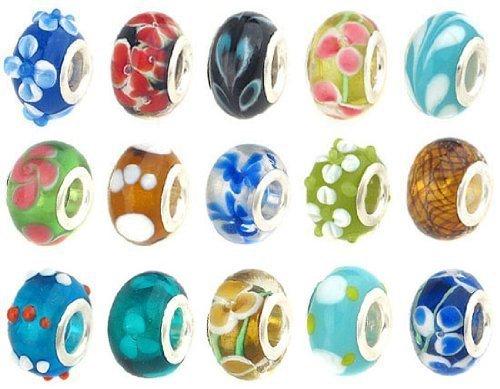 Sexy paillettes femmes de 20pc Lot lampwork Murano perles Mix en verre pour chaîne serpent Charm