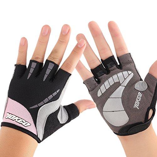 YOKGO Women Cycling Gloves Half Finger Pad Bike Sporting (Pink, Medium)