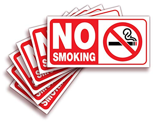 No Smoking Sign Sticker for House, Home & Business - 6 Pack 4x2 inch - Premium Self-Adhesive Vinyl, Laminated for Ultimate UV, Weather, Scratch, Water and Fade Resistance, Indoor & Outdoor