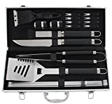 ROMANTICIST 20pc BBQ Grill Accessories Set with Non-Slip Handle - Heavy Duty Stainless Steel BBQ Tool Set with Aluminum Case - Ideal Birthday Grill Gift for Men Dad Outdoor Camping Grilling