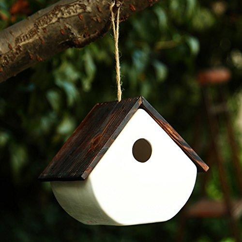 Cedar Wren House - CEDAR HOME Hanging Bird House Outdoor Garden Patio Decorative Resin Pet Cottage White Ceramic Chalet Birdhouse