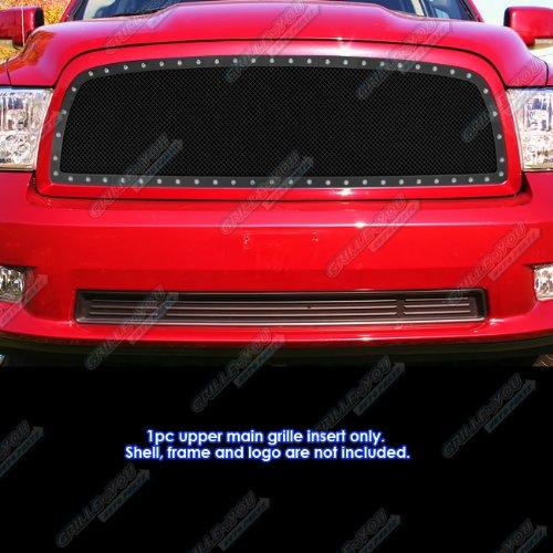 Aps 2009 2012 Dodge Ram 1500 Stainless Black Mesh Rivet Grille Grill Insert S18 H1285ld