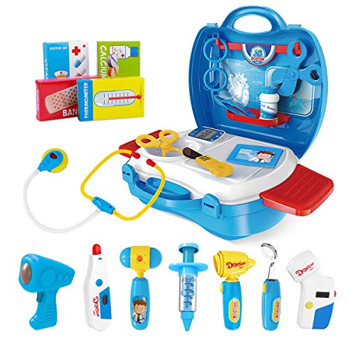 iBaseToy Doctor Kit for Kids, 27Pcs Pretend Medical Doctor Medical Playset with Electronic Stethoscope, Medical Kits Gift, Educational Doctor Toys for Toddler Boys Girls (Blue) -