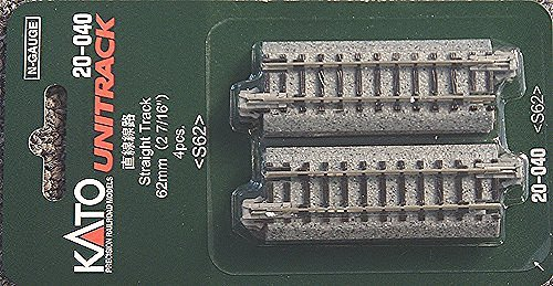 "Kato N Scale Unitrack 2 7/16"" 62mm Straight Track 4 Pack KA-20-040"