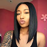 #9: AISI HAIR Straight Black Synthetic Wig for Women Shoulder Length Hair Heat resistant Fiber Natural Hair Full Wig Middle Part Wigs for Black Women (black)