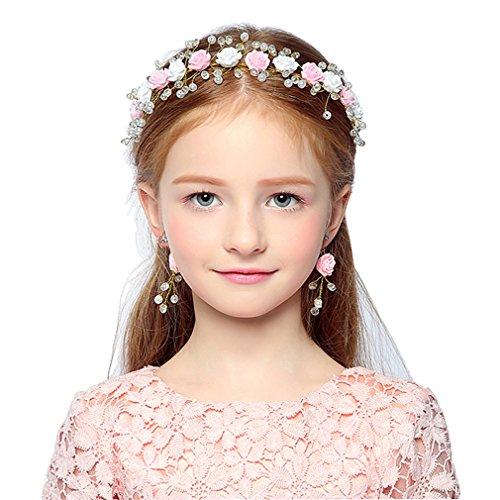Headdress Flowers Crystal Pearls Rhinestones Beading Beautiful Girls Hair Accessories Princess Hair Jewelry Givea Pair Of Earrings (Princess Headwear)