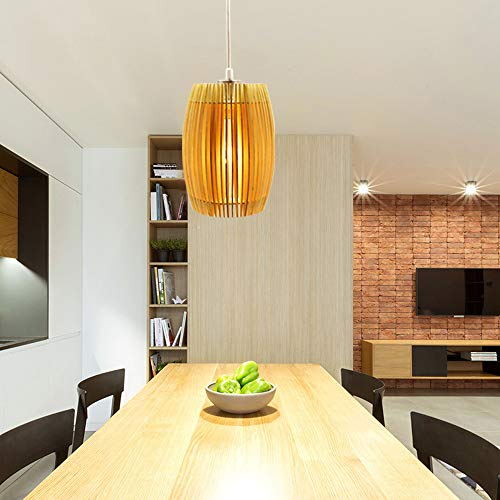 DLLT LED Wooden Ceiling Pendant Light Fixture-8W Decorative Hanging Lamp with Adjustable Cord, Chandelier Lighting for Restaurant, Dining Room, Living Room, Cafe Bar Shop Warm White