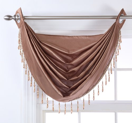Stylemaster Chelsea Grommet Waterfall Valance with Beaded Trim, Bronze