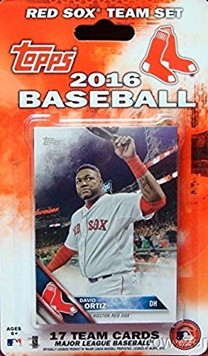Sox Mlb Baseball Cards (Boston Red Sox 2016 Topps Baseball Factory Sealed EXCLUSIVE Special Limited Edition 17 Card Complete Team Set with Dustin Pedroia, David Ortiz & Many More Stars & Rookies! Shipped in)