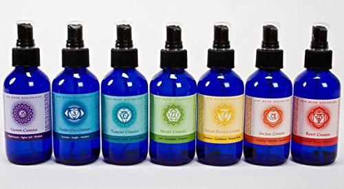 Chakra Spray Set - Balancing Body Mist & Aromatherapy Spray by New Moon Beginnings, 100% organic essential oils (4 oz) by New Moon Beginnings
