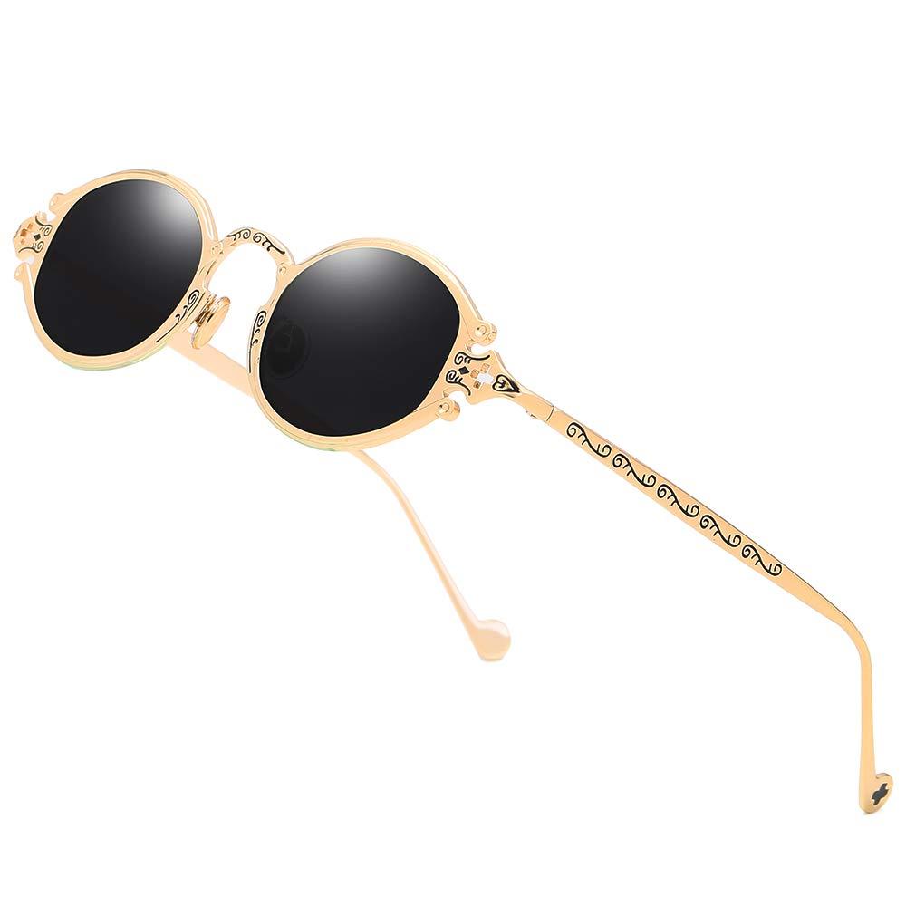 Amazon.com: Gafas de sol redondas estilo steampunk, estilo ...