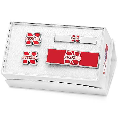 NCAA Mens Metal University of Nebraska 3 Piece Gift Set (Silver-Tone) by Cufflinks