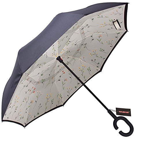 WASING Double Layer Inverted Umbrella Cars Reverse Umbrella, Windproof UV Protection...