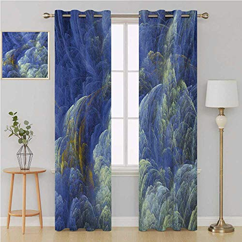(Benmo House Fractal Gromet Curtain Thermal Insulated Blackout Curtains,Trippy Hazy Fantasy Shapes with Blurry Effects Mystic Plasma Artful Pattern soundproof Curtain 84 by 84 Inch Blue Pale Yellow)
