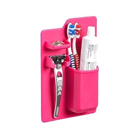 Wildlead Soporte para cepillo de dientes de silicona para pasta de dientes, organizador de baño