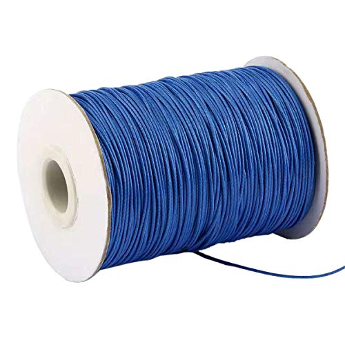 (Yzsfirm 1 Roll 1mm Waxed Cord 175 Yards Thread Spool String Royal Blue Tag Rope for Jewelry Sewing and Necklace Shoelaces DIY Making)
