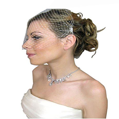 Jelinda Women's Wedding Bridal Birdcage Face Veil Fascinator With Comb (White)