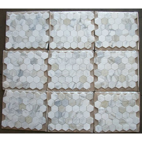 Calacatta Gold Italian Calcutta Marble Hexagon Mosaic Tile 2 Inch