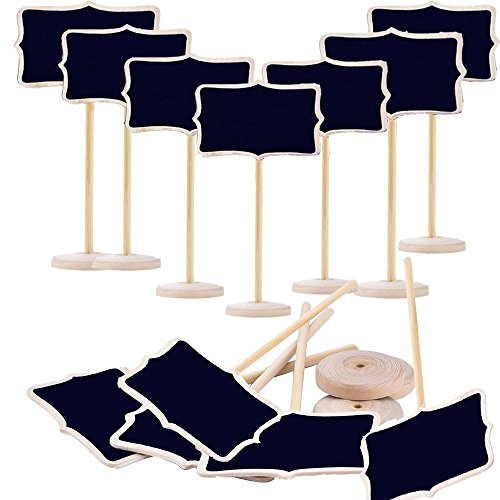 Megrocle 12 Pack Mini Rectangle Wood Chalkboards, Blackboard with Stand for Wedding, Graduation Supplies, Birthday Parties, Message Board Signs