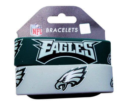 NFL Philadelphia Eagles Silicone Rubber Bracelet, 2-pack