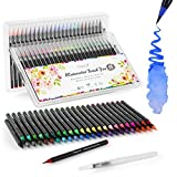 Water Color Brush Pens, Magicfly 48 Colors Brush Pens Set with 1 Refillable Water Pens, Flexible Nylon Brush Tips Watercolor Pens for Watercolor Painting, Manga, Calligraphy