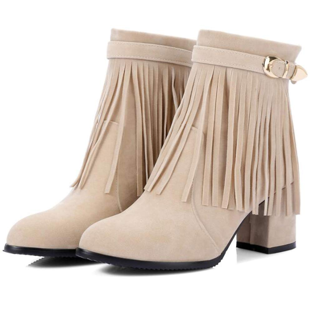 CITW Herbst Weibliche Stiefel Tassel Kurze Stiefel Gürtelschnalle Peeling Weibliche Weibliche Weibliche Stiefel Großen Hof High Heel Dicken Fersen Stiefel,Apricot,UK5 EUR39 af7c1a