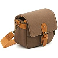 Compact SLR Camera Shoulder Bag Evecase Small Canvas Shoulder Pouch Case For 4/3 Micro Four third / Compact system / Mirrorless / Power Zoom / Instant Instax Film Digital Camera- Brown