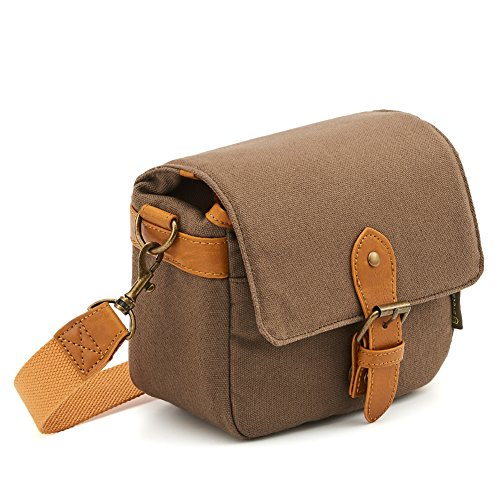 Compact SLR Camera Shoulder Bag Evecase Small Canvas Shoulder Pouch Case for 4/3 Micro Four Third/Compact System/Mirrorless/Power Zoom/Instant Instax Film Digital Camera- Brown ()