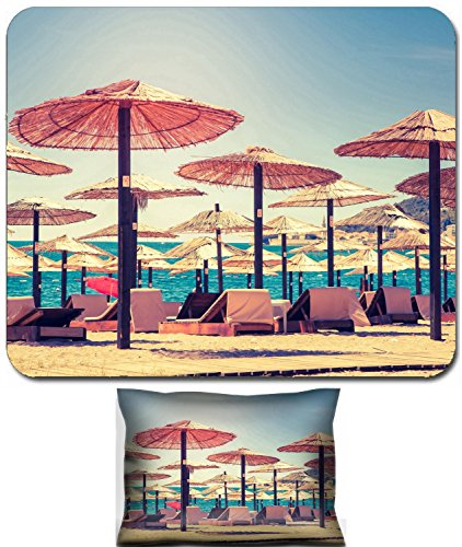 Liili Mouse Wrist Rest and Small Mousepad Set, 2pc Wrist Support IMAGE ID 32942902 Thatched umbrellas and beach chairs on the beach Budva Montenegro Balkans Europe Beauty world Ret (Umbrellas Thatched Sale)